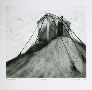 Outpost - Drypoint by Lisa Andrén.