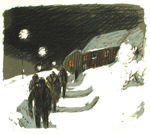 On the Way to the Mine - Lithograph by Alvar Jansson