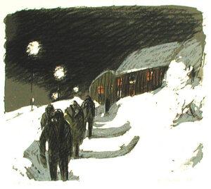Litografi På väg till gruvan av Alvar Jansson