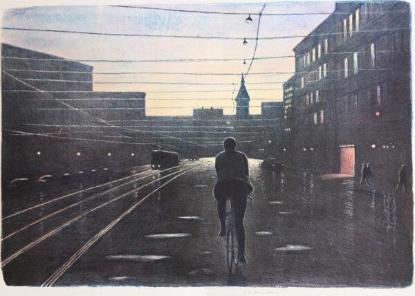 Litografi Kvällscyklist av Mikael Kihlman