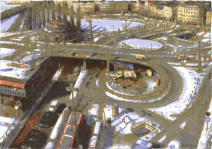 Silk-Screen Slussen Roundabout by Bo Larsson