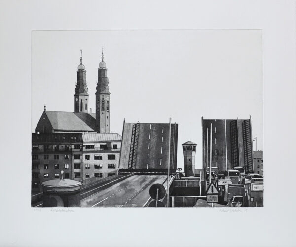 Bridge of Liljeholmen - Etching by Mikael Wahrby