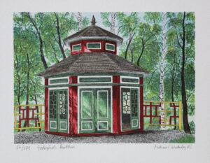 Litografi Godegårds lusthus av Mikael Wahrby