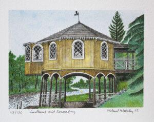 Litografi Lusthuset vid Borensberg av Mikael Wahrby