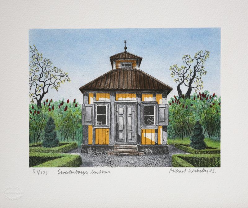 Litografi Swedenborgs lusthus av Mikael Wahrby