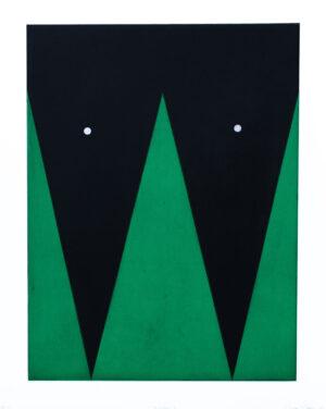 Etsning Persona I av Ann Edholm med två handstansade hål i den svarta ytan.