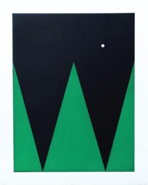 Etsning Persona II av Ann Edholm med ett handstansat hål i den svarta ytan.