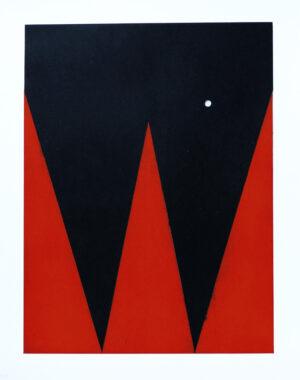 Etsning Persona IV av Ann Edholm med ett handstansat hål i den svarta ytan