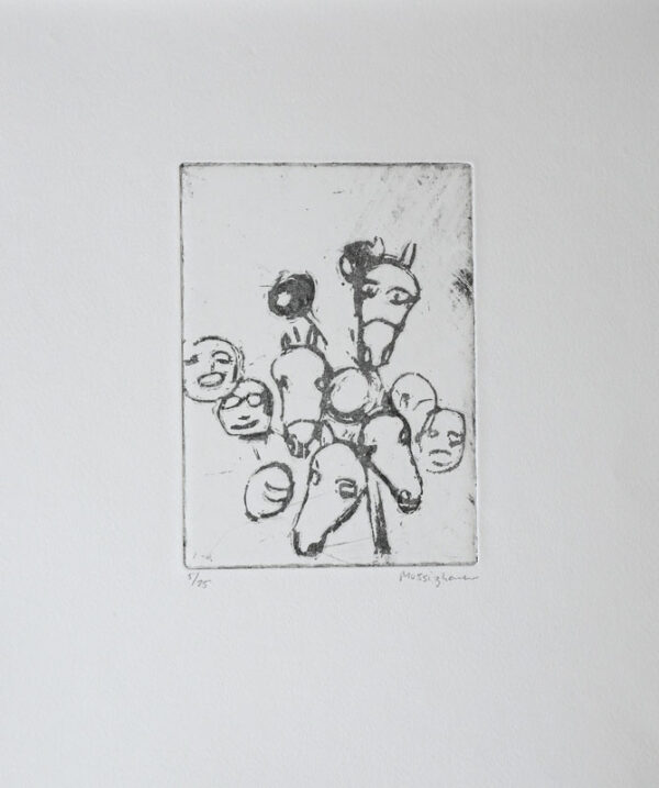 Sugar lift etching Heads by Eva Mossing Larsen