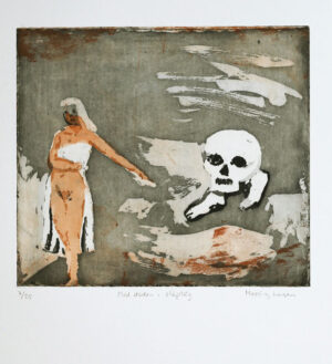 Aquatint etching Walking with Death by Eva Mossing Larsen