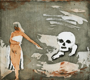 Aquatint Walking with Death by  Eva Mossing Larsen