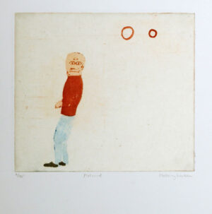 Sockerakvatint med chine collé - Motvind av Eva Mossing Larsen