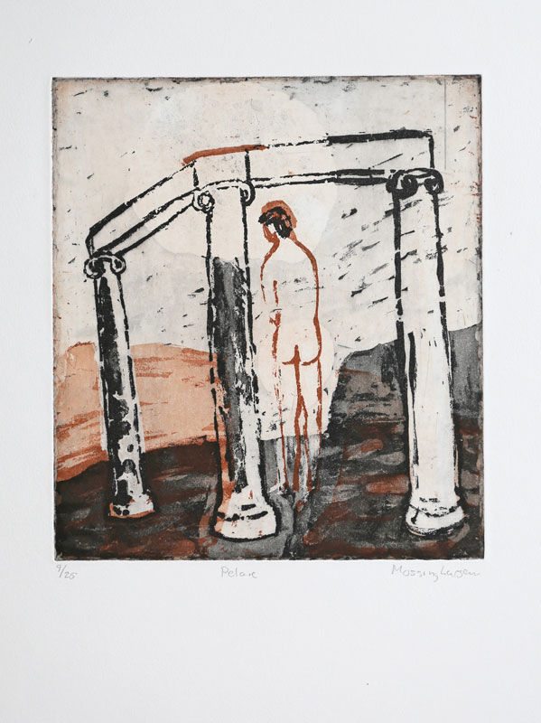 Aquatint etching Pillar by Eva Mossing Larsen