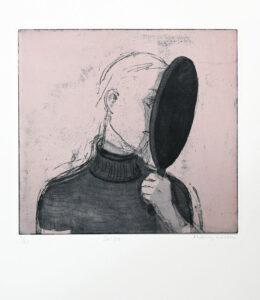 Aquatint etching Selfie by Eva Mossing Larsen
