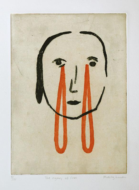 Sockerakvatint med chine collé The Agony of Love av Eva Mossing Larsen