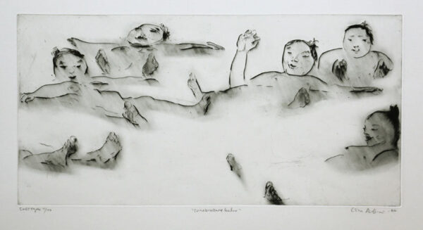 Drypoint Sumo Wrestlers Taking a Bath by Lisa Andrén
