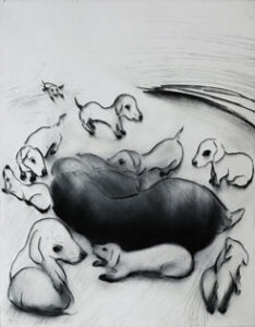 Drypoint Puppies by Lisa Andrén