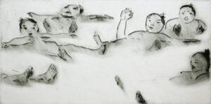 Torrnål Sumobrottare badar av Lisa Andrén.