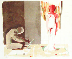 The Artist and the Model - Lithograph by Ulf Gripenholm.