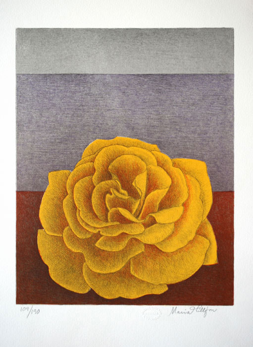 Litografi Den gyllene rosen av Maria Hillfon.