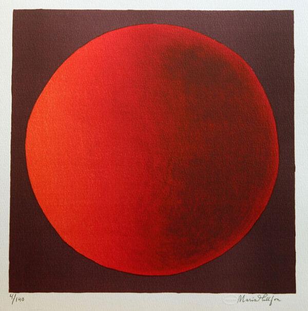 Litografi Röd planet av Maria Hillfon.