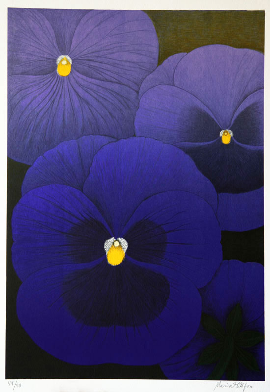 Thoughtfulness - Lithograph by Maria Hillfon.