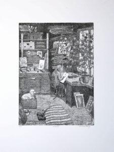 In the Studio - Etching by Eva Holmér Edling.