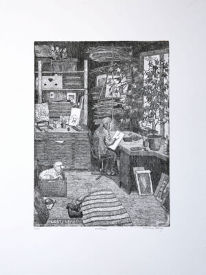 In the Studio - Etching by Eva Holmér Edling.