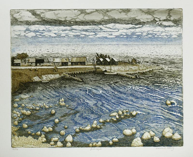 Etsning Fiskeläget av Eva Holmér Edling.