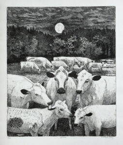 Mountain Cows below Moon in August - Etching by Eva Holmér Edling.g.