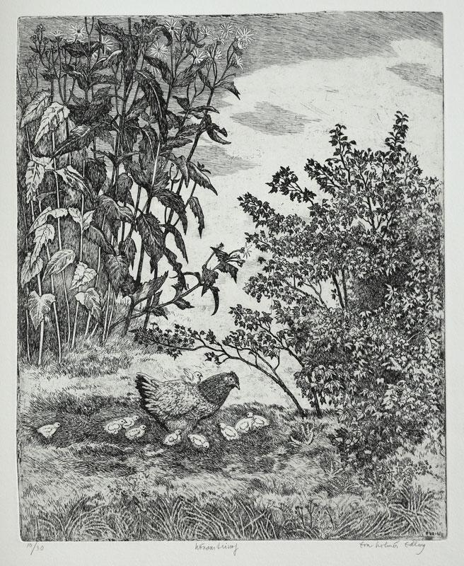 The Triumph of the Hen - Etching by Eva Holmér Edling.