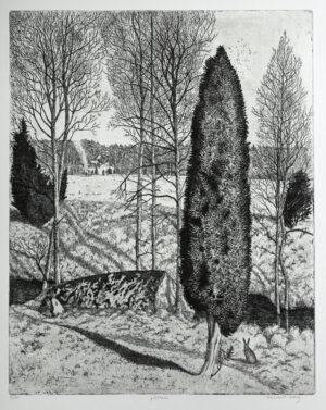 Etsning Påskhare av Eva Holmér Edling.