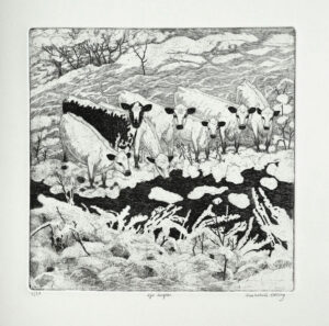 Seven Angels - Etching by Eva Holmér Edling.