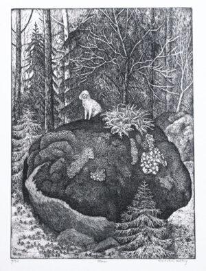 Etsning Stenen av Eva Holmér Edling.