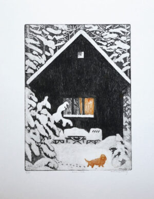 Paws in the Snow - Etching by Eva Holmér Edling.