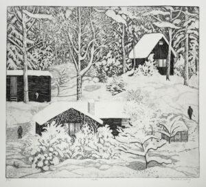 Etsning Vinter av Eva Holmér Edling.