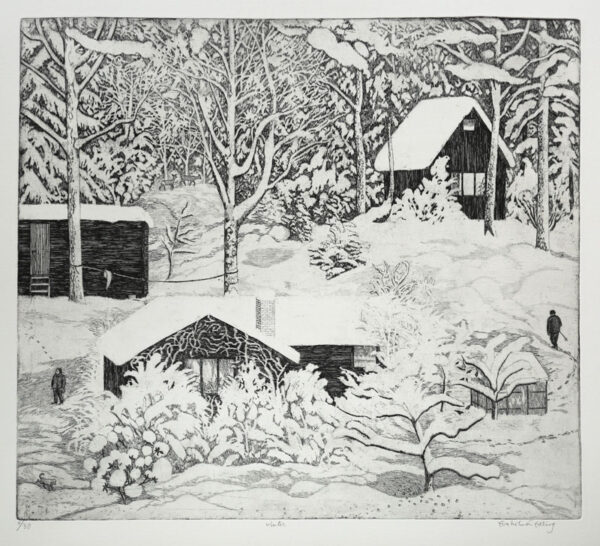 Winter - Etching by Eva Holmér Edling.