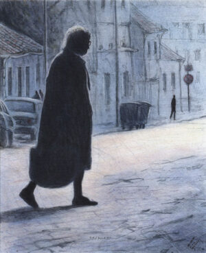 Lady with Bag - Lithograph by Mikael Kihlman.