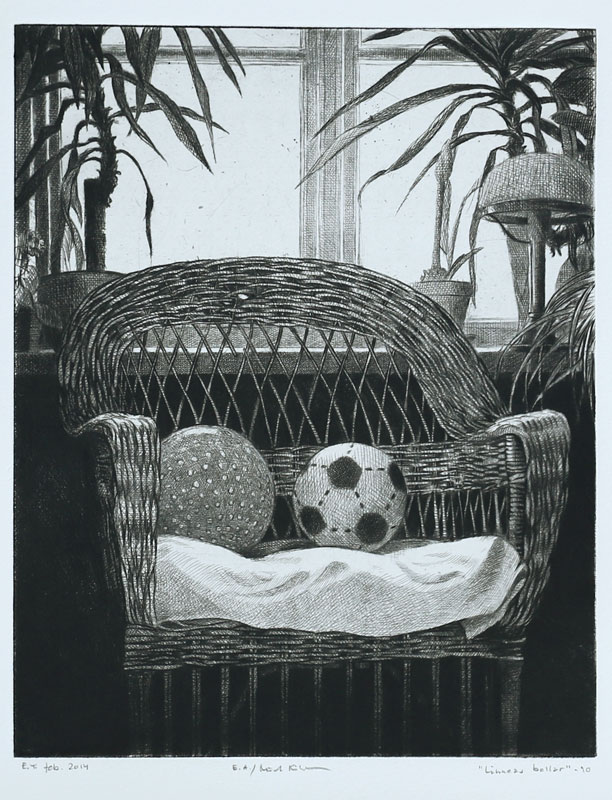 Linnea's Balls - Drypoint by Mikael Kihlman.