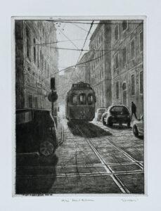 Lisbon - Drypoint by Mikael Kihlman.