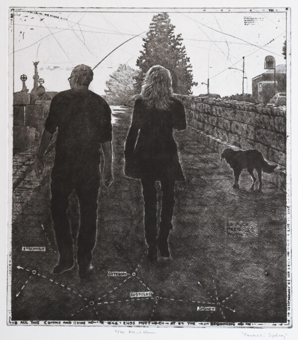 Walk in Sydney - Drypoint by Mikael Kihlman.