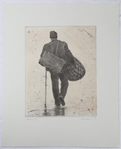 Peoples III - Chine collé, drypoint by Mikael Kihlman.
