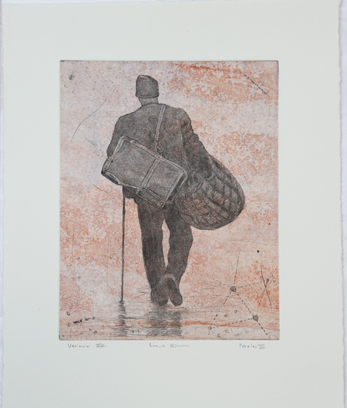 Peoples III, variation 7 - Chine collé, drypoint by Mikael Kihlman.