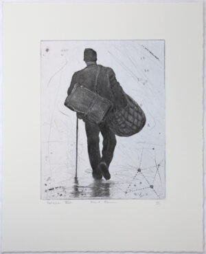 Peoples III, variation 8 - Chine collé, drypoint by Mikael Kihlman.