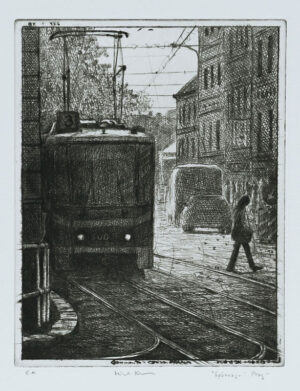 Tram in Prague - Drypoint by Mikael Kihlman.