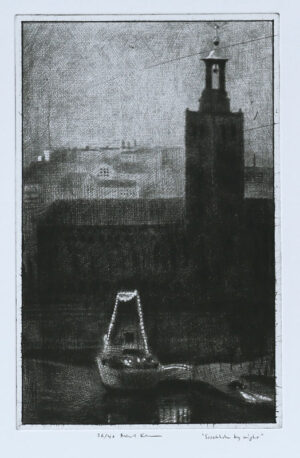 Stockholm by Night - Drypoint by Mikael Kihlman.