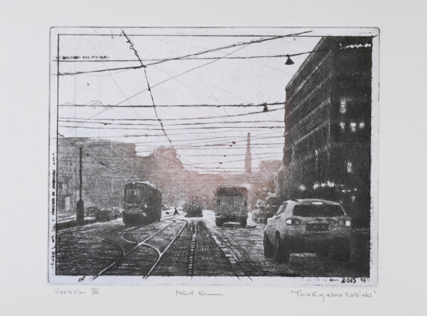 Thinking about Helsinki - Drypoint, Chine collé by Mikael Kihlman.