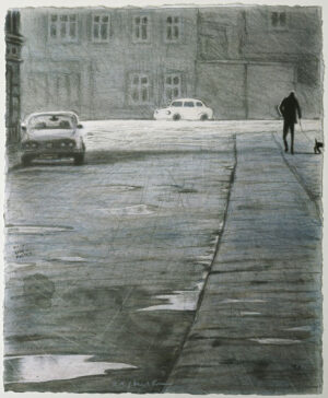 White Car - Lithograph by Mikael Kihlman.