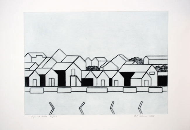 Village by the Sea - Drypoint by KG Nilson