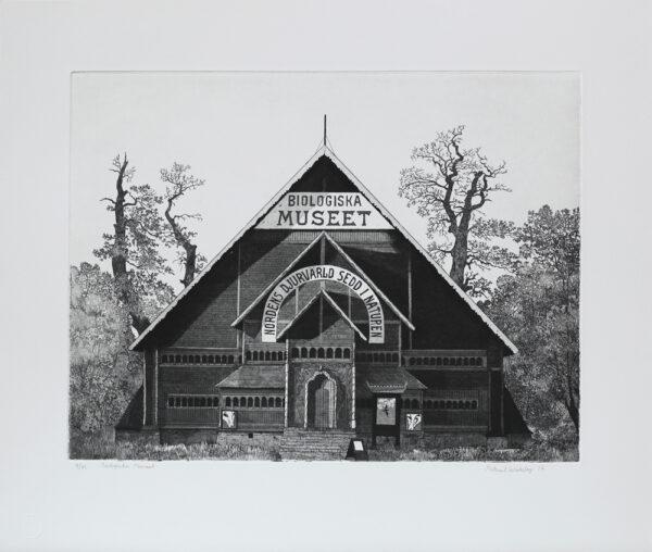 The Biological Museum in Stockholm - Etching by Mikael Wahrby
